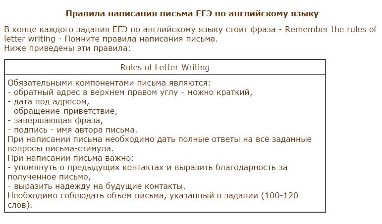 Образец письма егэ по английскому языку — комитет по управлению.