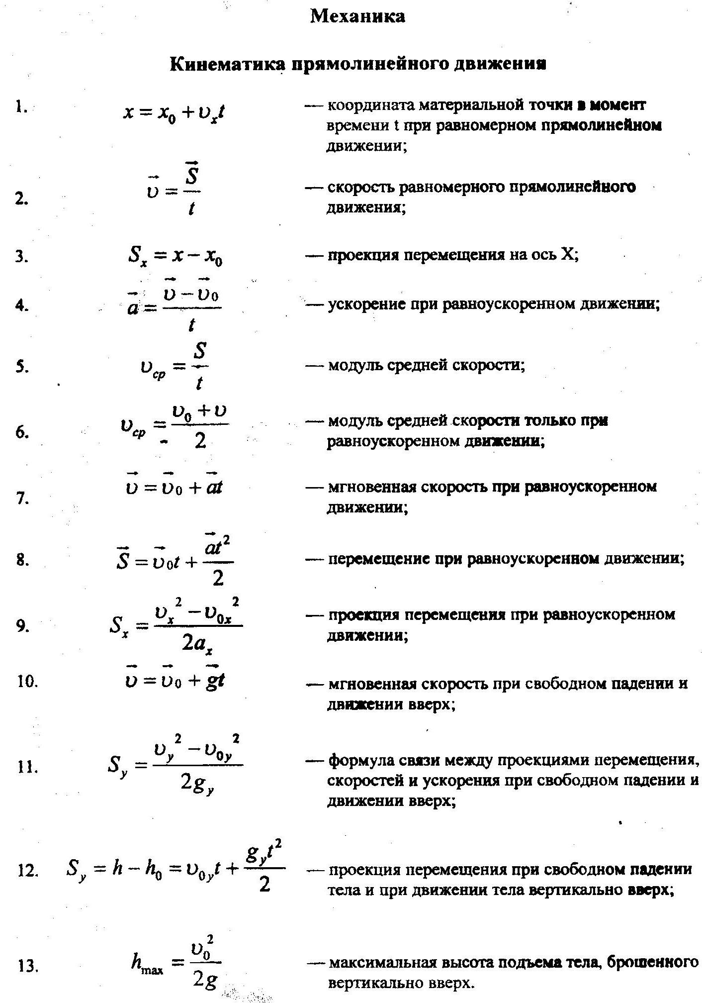 Шпаргалка по физике решения задач 10 класс